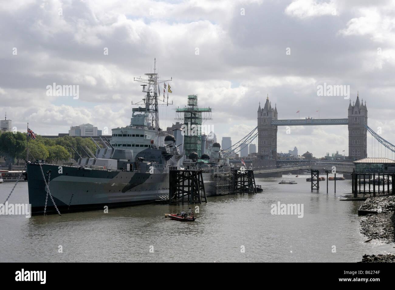 HMS Belfast, Tower Bridge, London, Great Britain, Europe - Stock Image