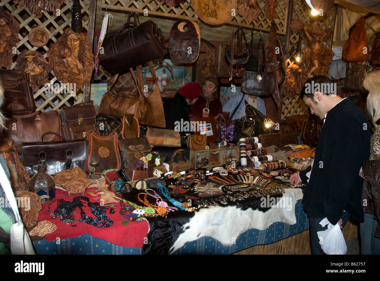 Handmade leather goods on sale at the Medieval Market in Elche / Elx, Alicante, Costa Blanca, Spain - Stock Image