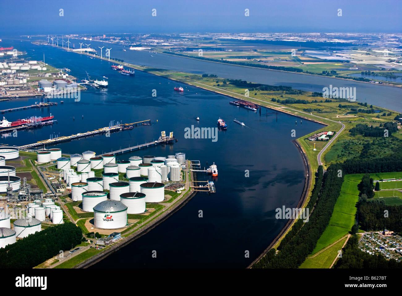 Holland Zuid Holland Rotterdam Harbour Oil storage Aerial Stock Photo