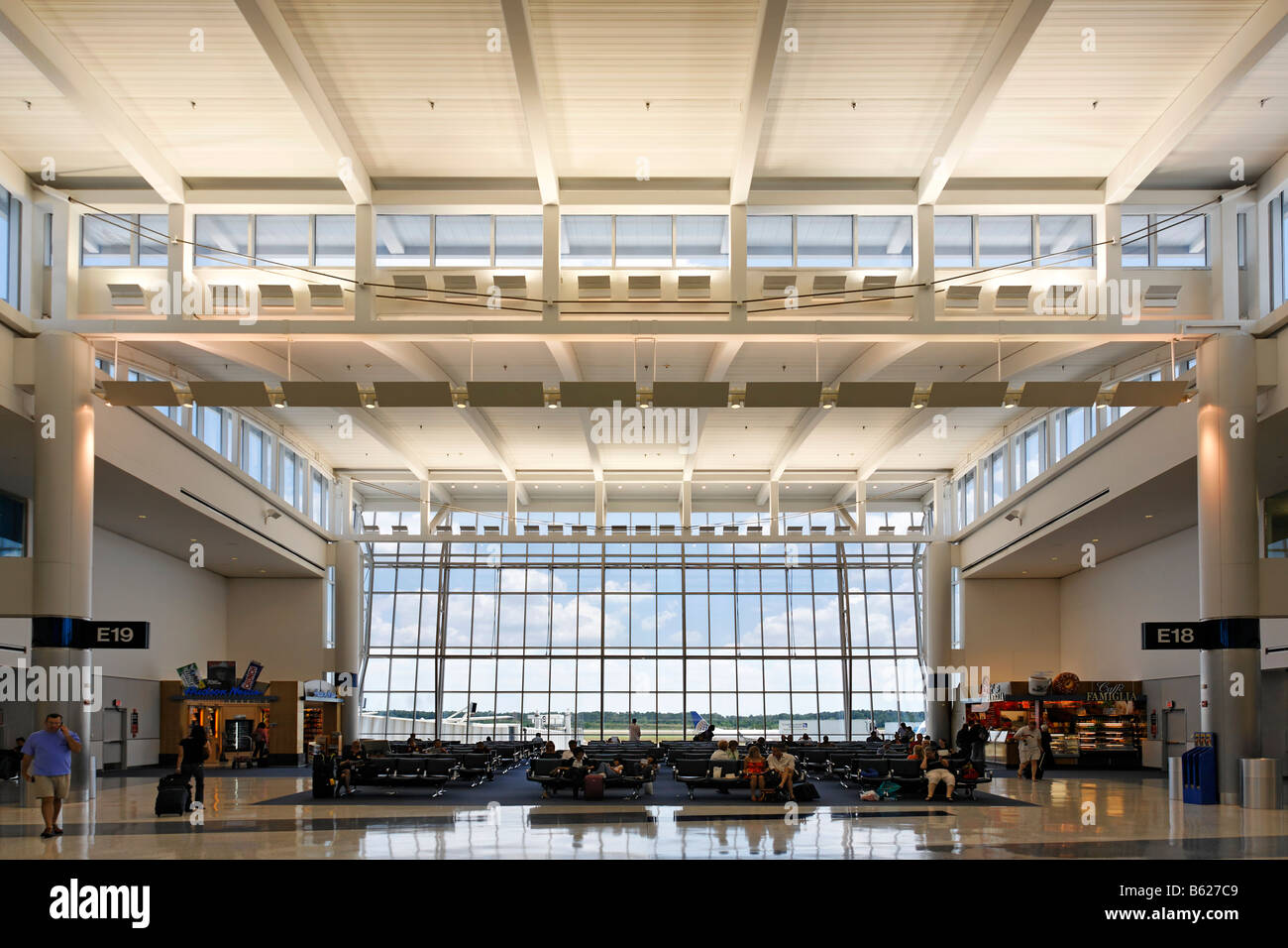 Waiting hall Gate E19, George W. Bush International Airport, Houston, Texas, USA - Stock Image