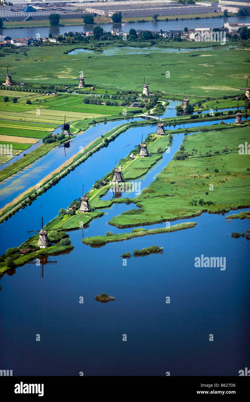 Netherlands Zuid Holland Kinderdijk Windmills in polder Unesco World Heritage Site Aerial - Stock Image