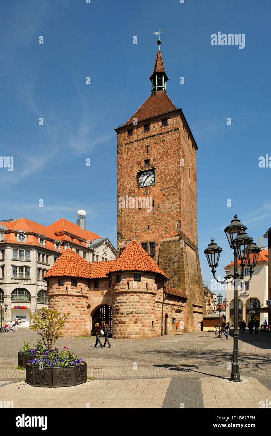 Weisser Turm, white tower, street light, pedestrian area, historic city centre, Nuremberg, Middle Franconia, Bavaria, - Stock Image