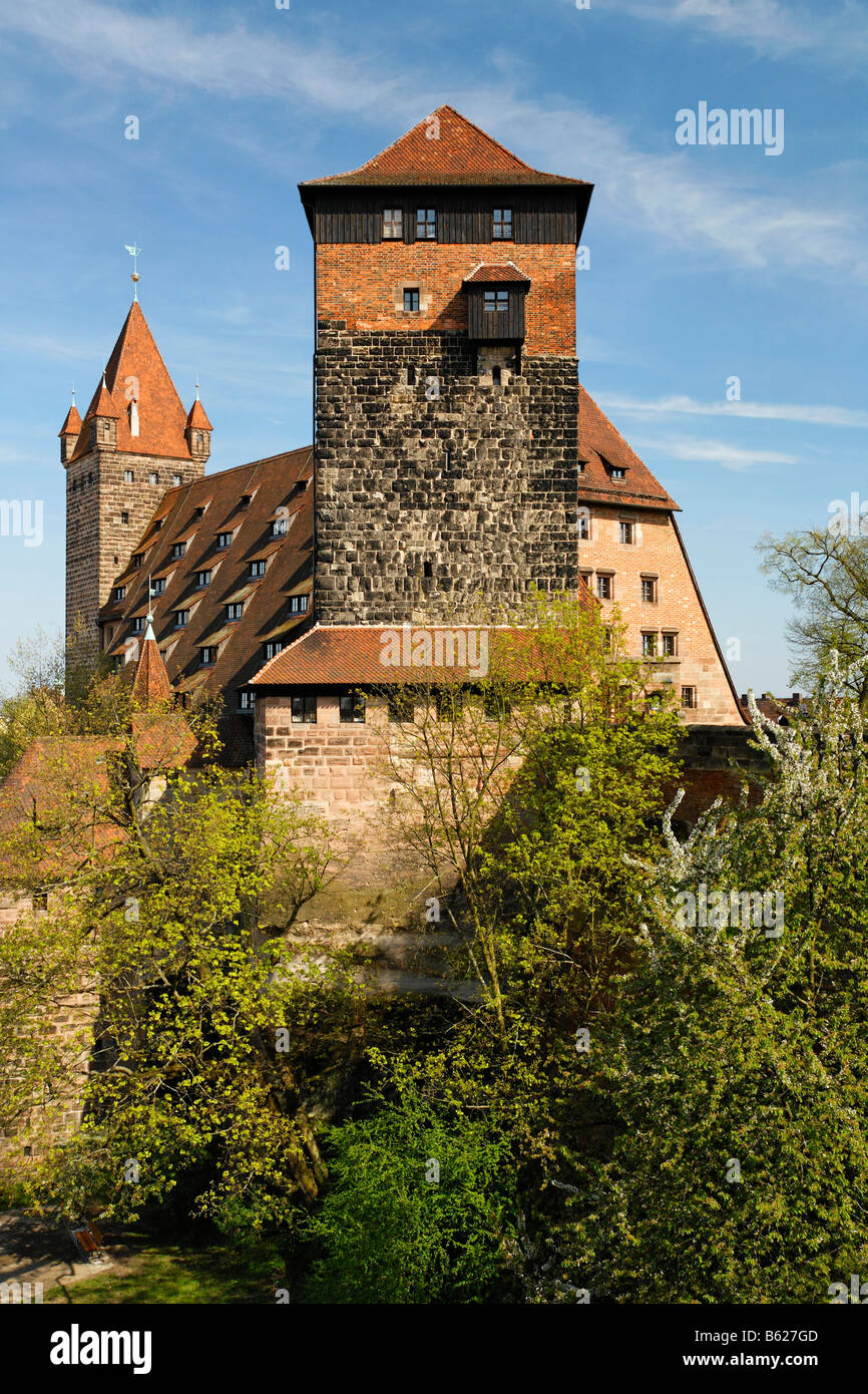 Nuremberg Castle, former stables, today used as youth hostel, historic city centre, Nuremberg, Middle Franconia, Stock Photo