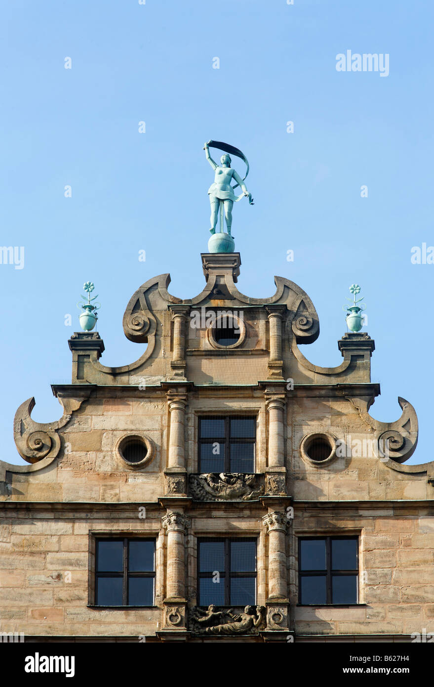 Figure of Fortuna, Fembo house, gable, late renaissance, historic city centre, Nuremberg, Franconia, Bavaria, Germany, - Stock Image