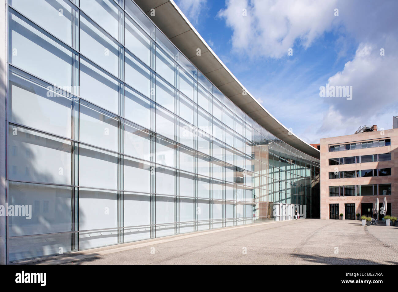 Glass facade, Neues Museum, New Museum, state museum for art and design, Klarissenplatz Square, historic city centre, Stock Photo