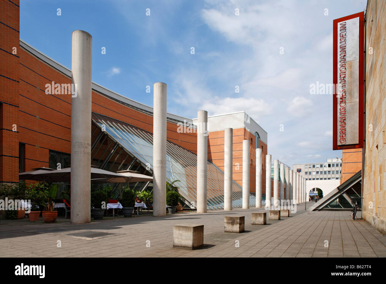 Germanisches Nationalmuseum, Dani Karavan, Strasse der Menschenrechte, Street of Human Rights, historic city centre, - Stock Image