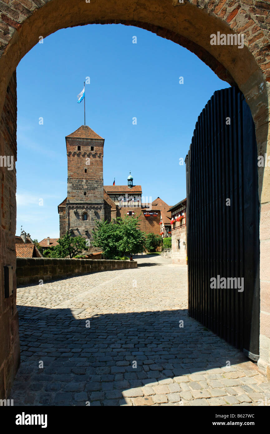 Nuremberg Castle or Kaiserburg, fore-court, Heidenturm Tower, entrance gate, Nuremberg, Middle Franconia, Bavaria, - Stock Image
