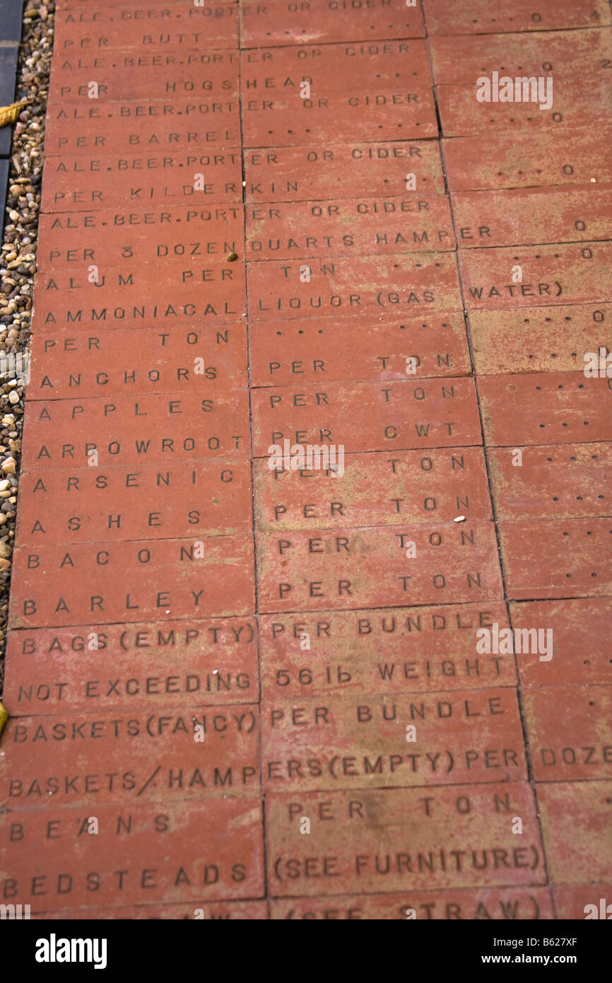 Bricks showing records of imports into Wales, United Kingdom - Stock Image