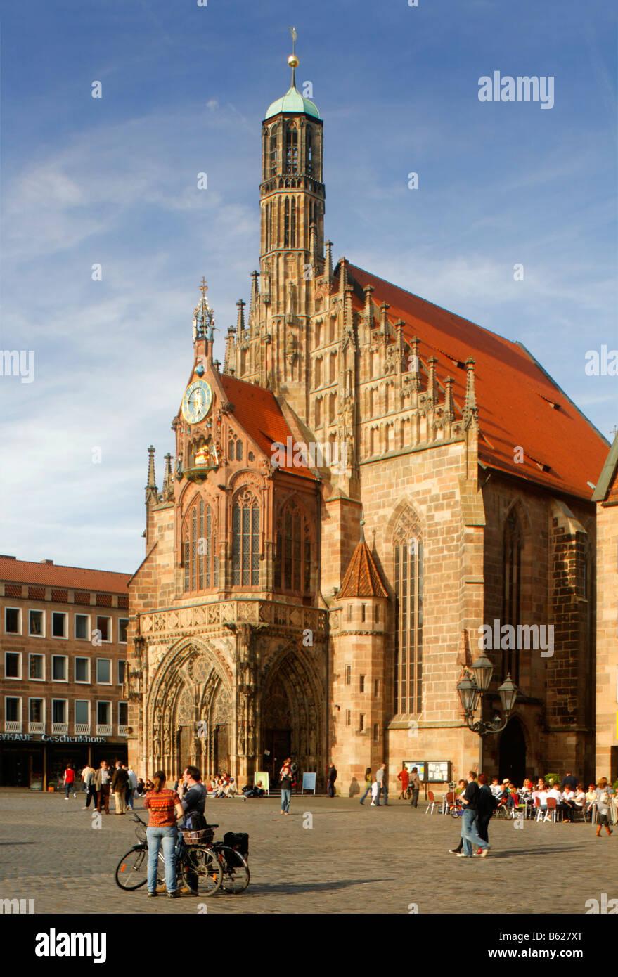 Frauenkirche Church, main market, historic city centre, Nuremberg, Middle Franconia, Bavaria, Germany, Europe Stock Photo