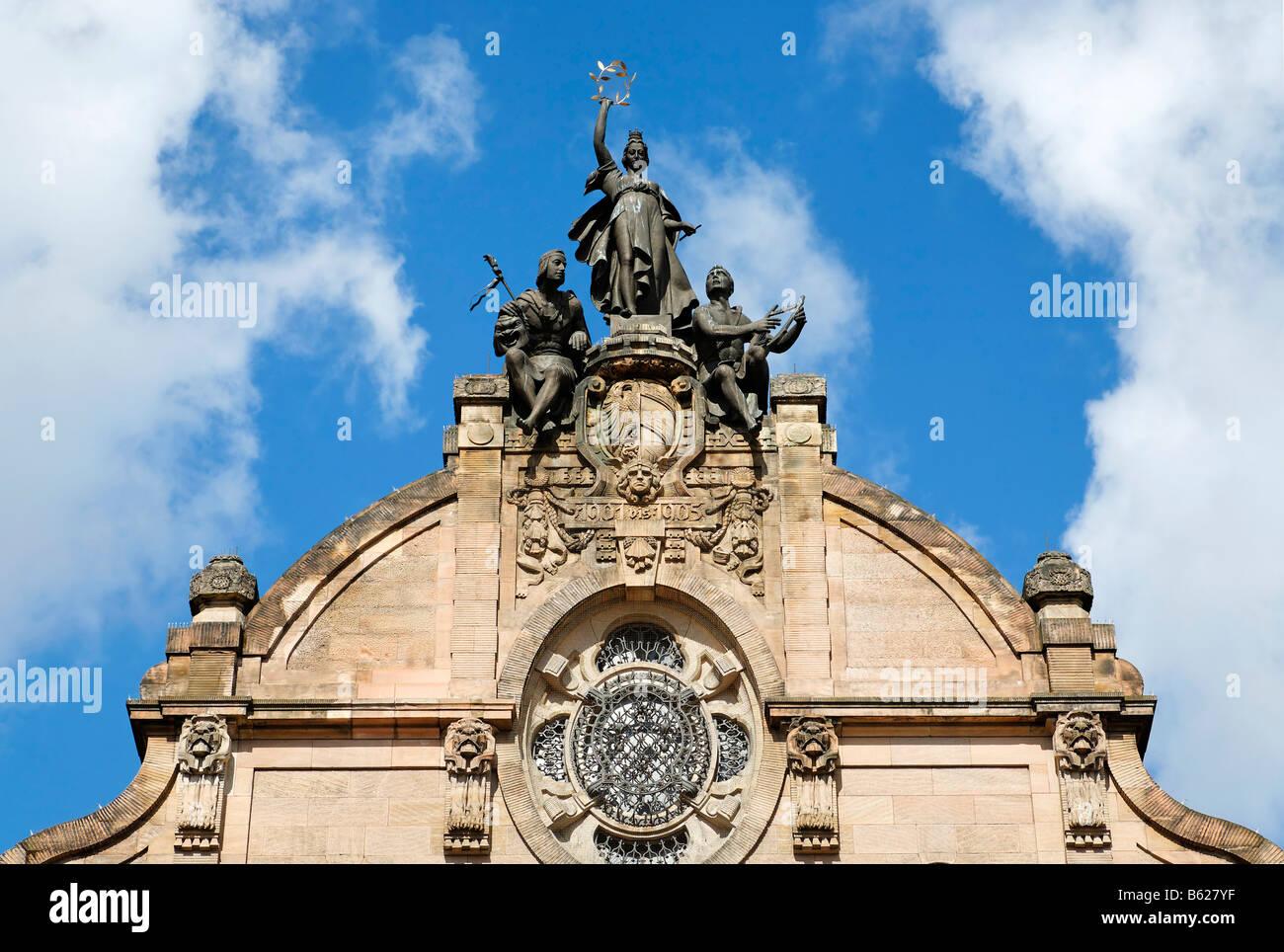 State theatre, opera, gable, art nouveau, Nuremberg, Middle Franconia, Bavaria, Germany, Europe - Stock Image