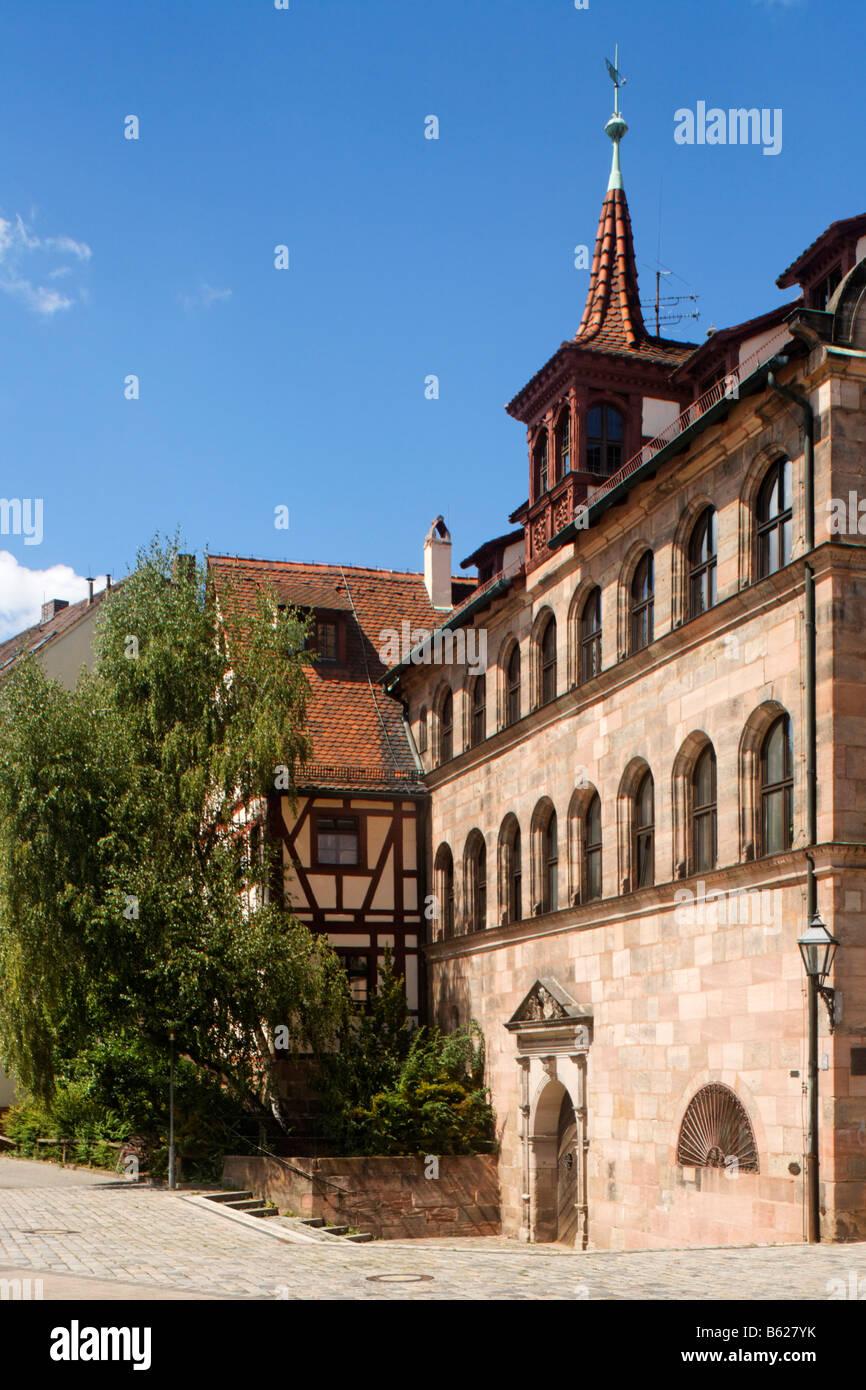 Herren Schiesshaus, built 1582-83, Andreij-Sacharow Square, historic city centre, Nuremberg, Middle Franconia, Bavaria, - Stock Image