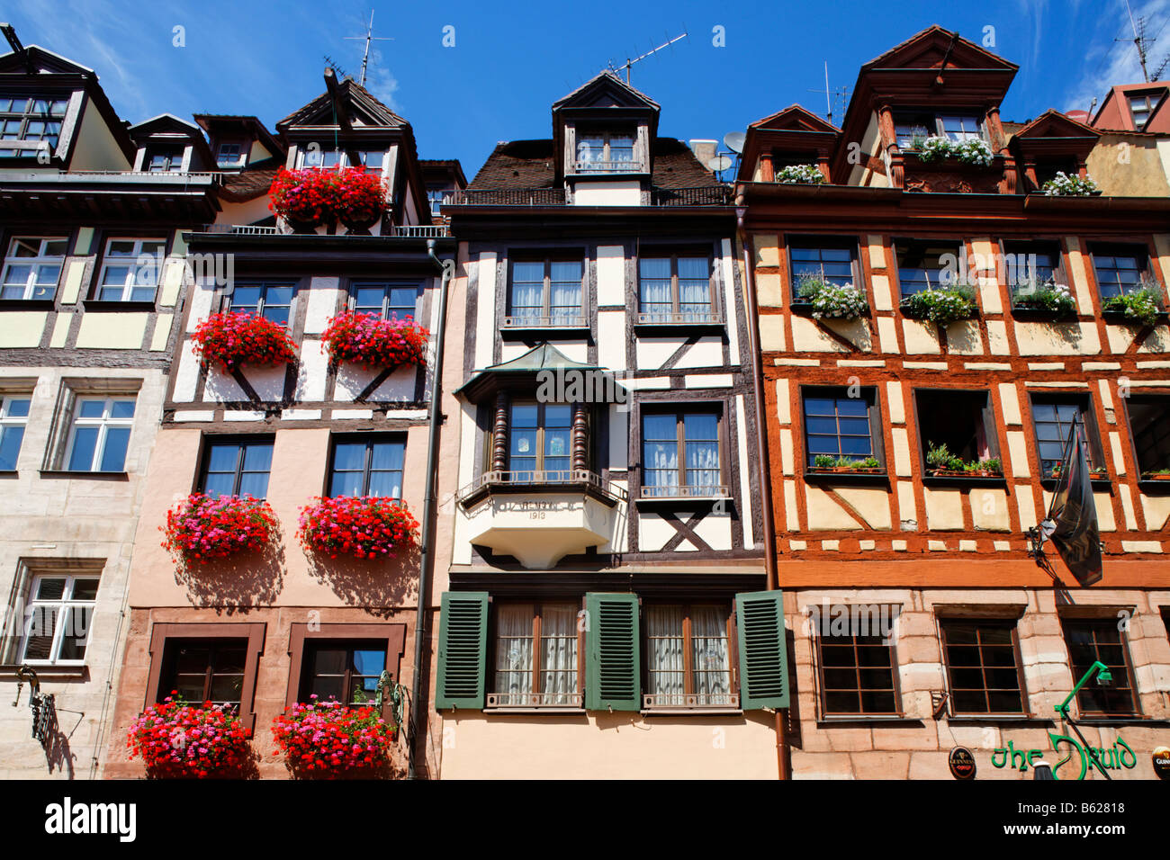 Renovated half-timbered houses, Weissgerbergasse, historic city centre, Nuremberg, Middle Franconia, Bavaria, Germany, - Stock Image