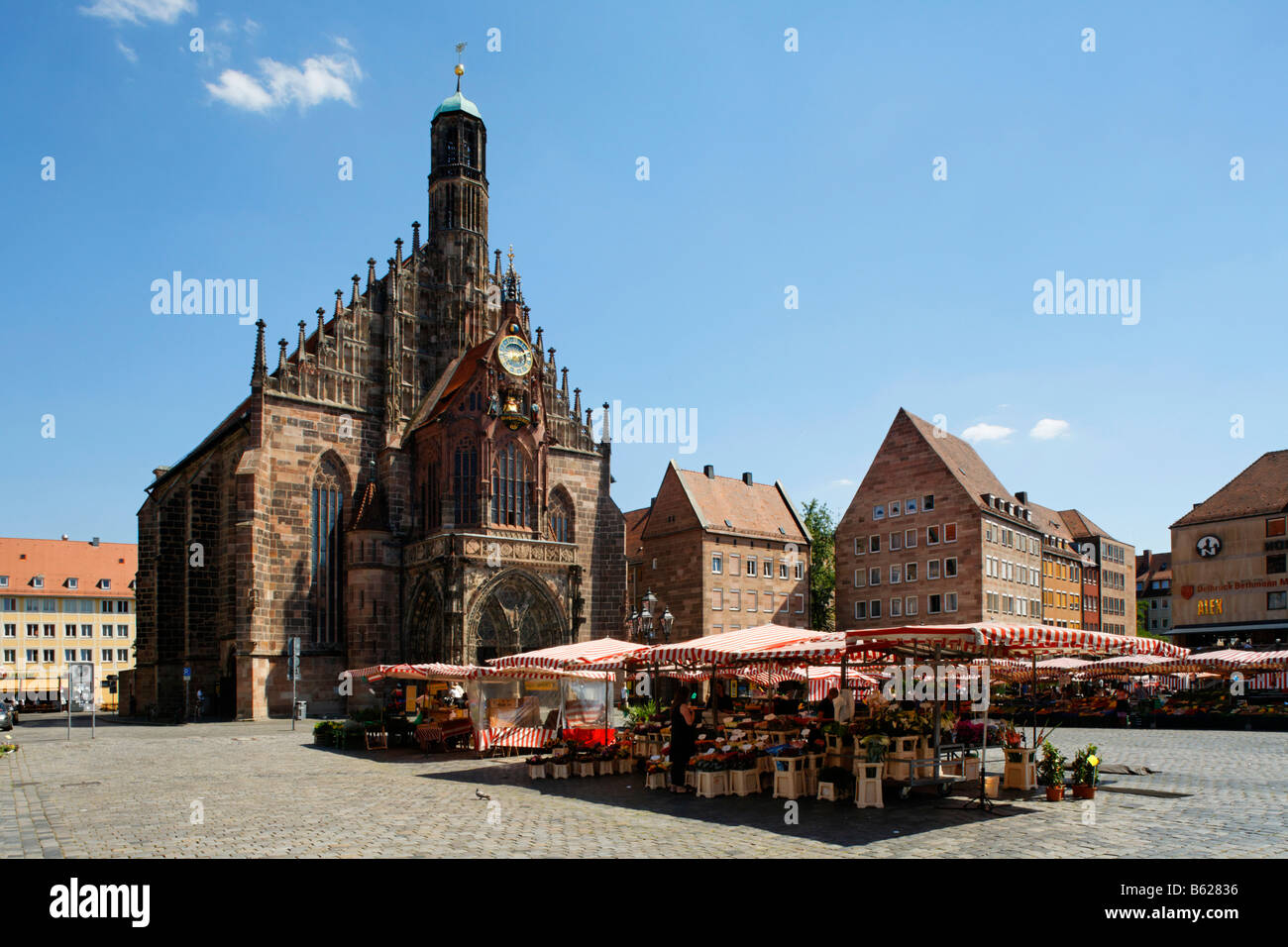 Main market, Frauenkirche Church, market, historic city centre, Nuremberg, Middle Franconia, Bavaria, Germany, Europe - Stock Image