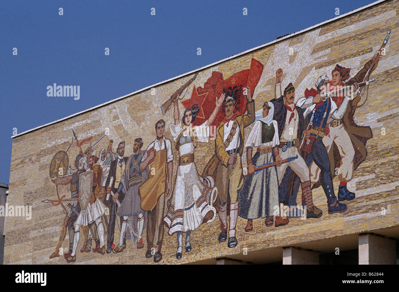 National Museum of History, with the Albanian Victorious History mosaic facade, Tirana, Albania, 1992 - Stock Image