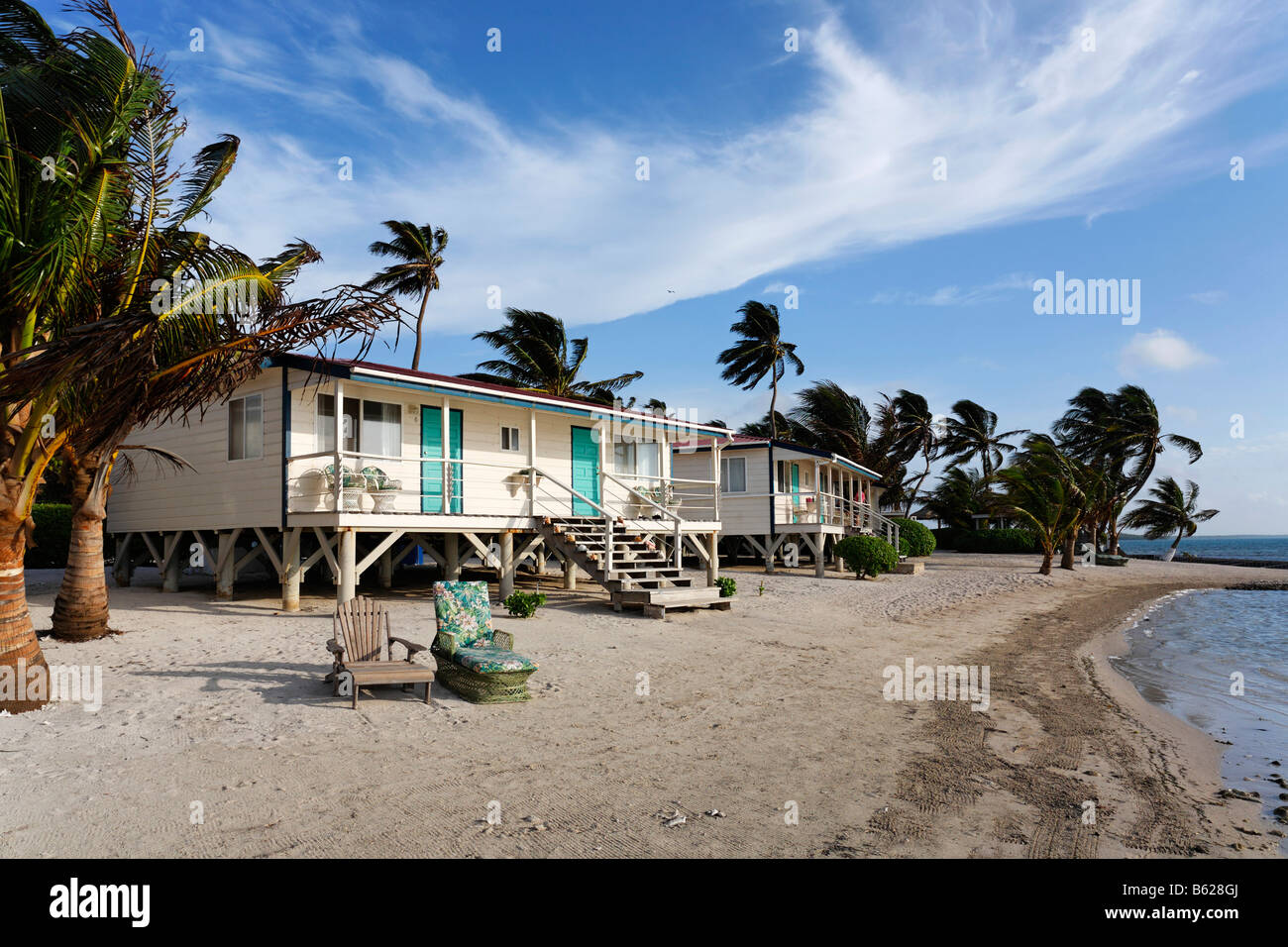 Bungalows, Turneffe Flats, Turneffe Atoll, Belize, Central America, Caribbean - Stock Image