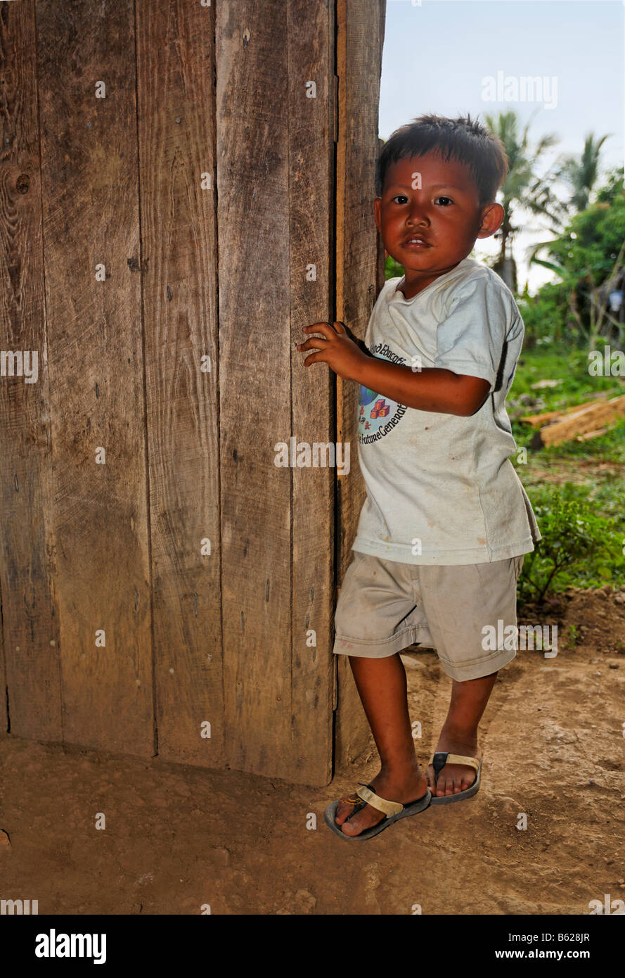 Small, local boy standing in a wooden doorway, Punta Gorda, Belize, Central America Stock Photo
