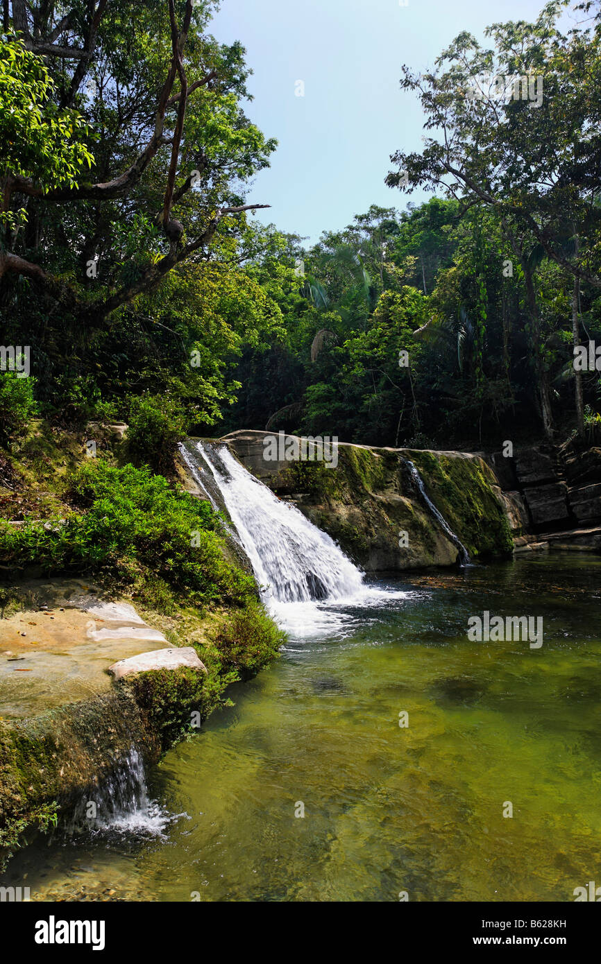 River landscape in the tropical forest with a waterfall and rocks, Punta Gorda, Belize, Central America, Caribbean Stock Photo