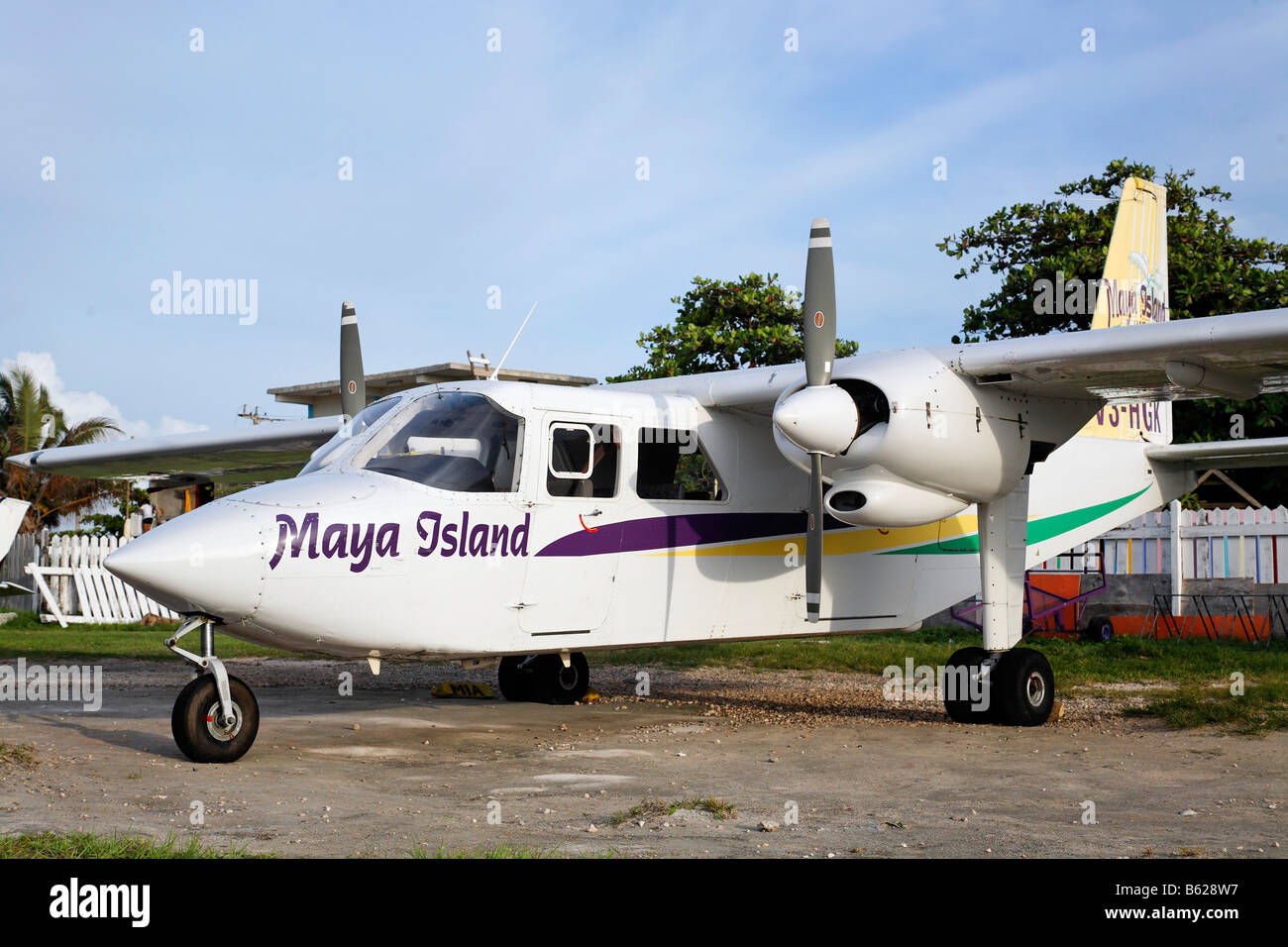Twin engine plane, a Britten Norman BN2 Islander, Maya Island Air, at the local airport of San Pedro, Ambergris - Stock Image