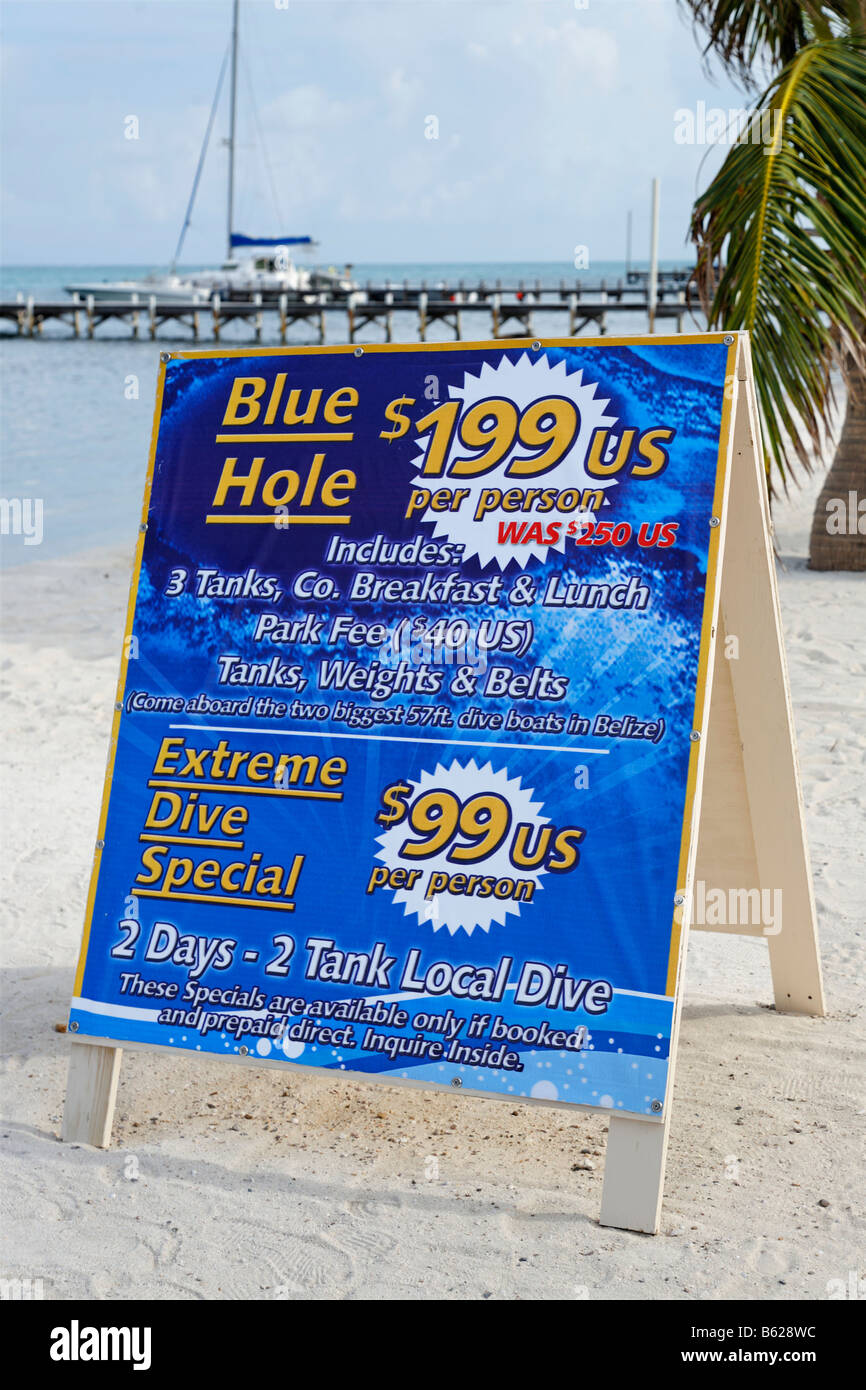 Sign offering scuba diving specials in San Pedro, Ambergris Cay Island, Belize, Central America, Caribbean - Stock Image