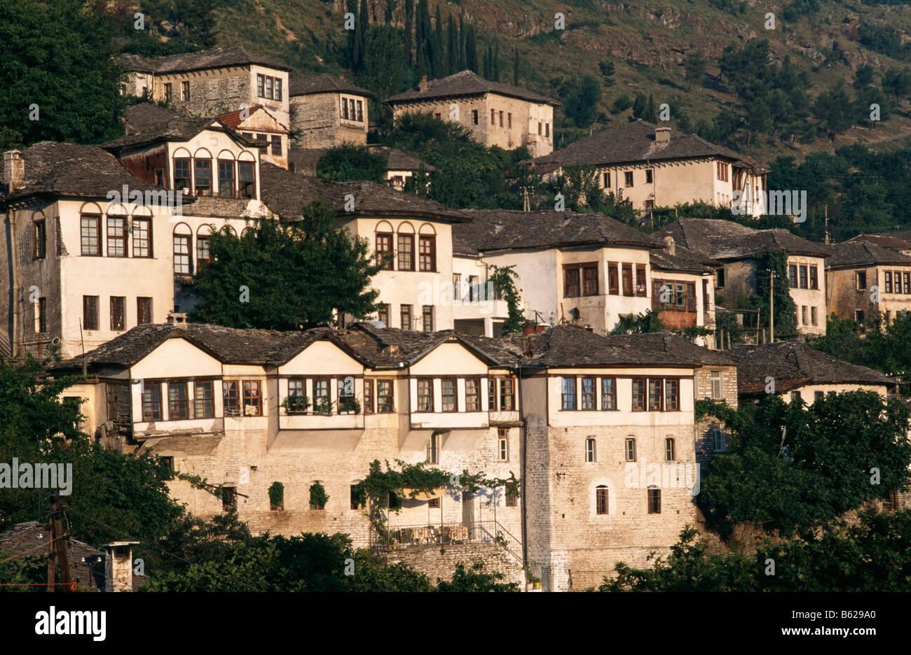 Houses in Gjirokaster/ Gjirokastra, Southern Albania - Stock Image