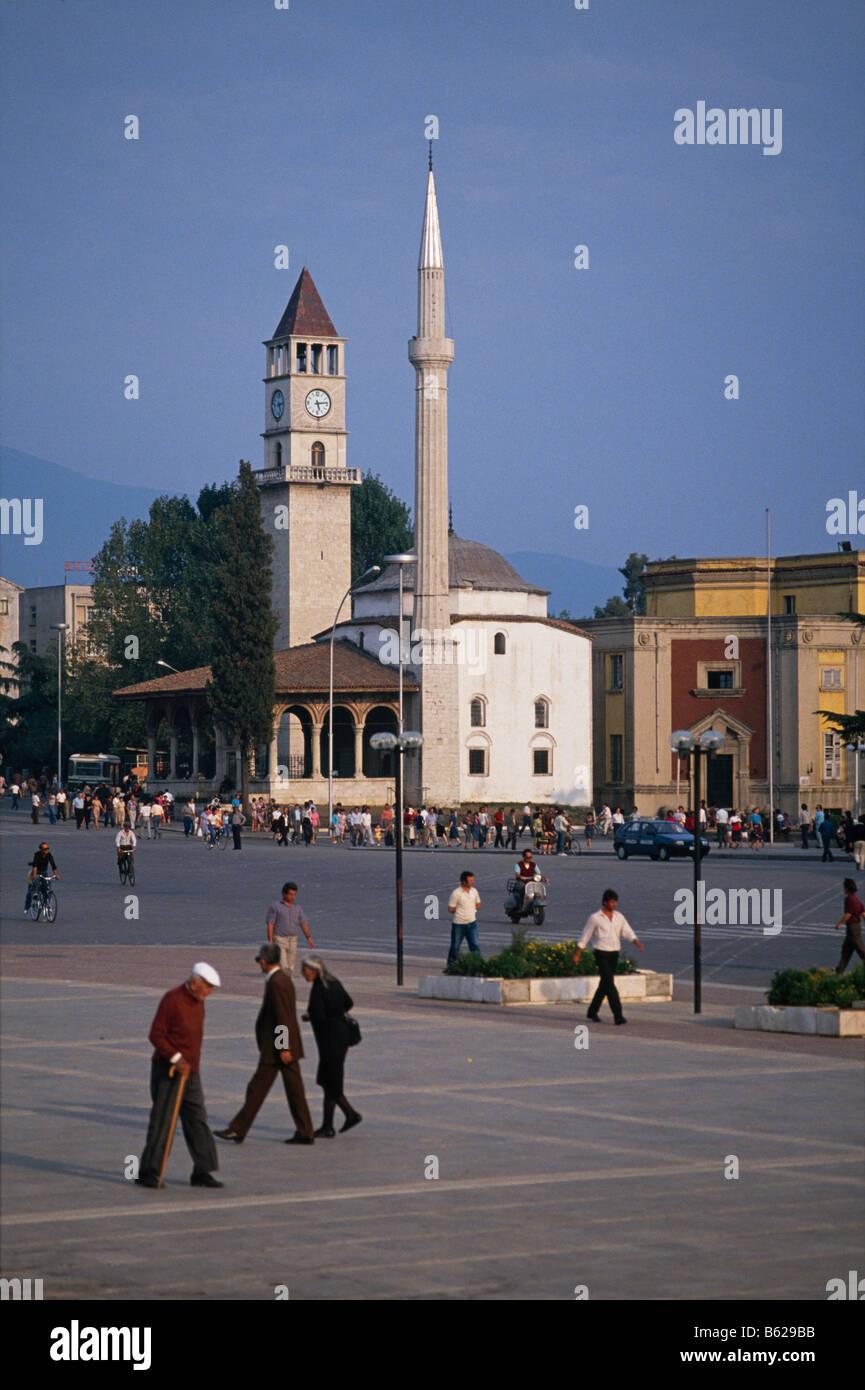 Et'hem Bay Mosque in Skanderbeg Square/ Sheshi Skenderbej, Tirana, Albania 1992 - Stock Image