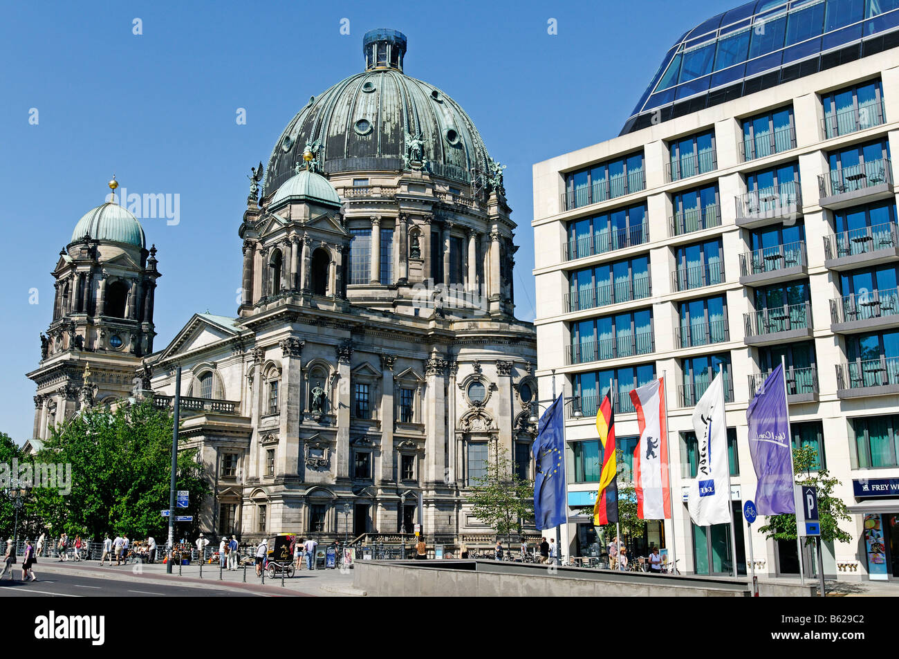 Radisson SAS Hotel, Berliner Dom Cathedral in the back, Berlin, Germany, Europe - Stock Image