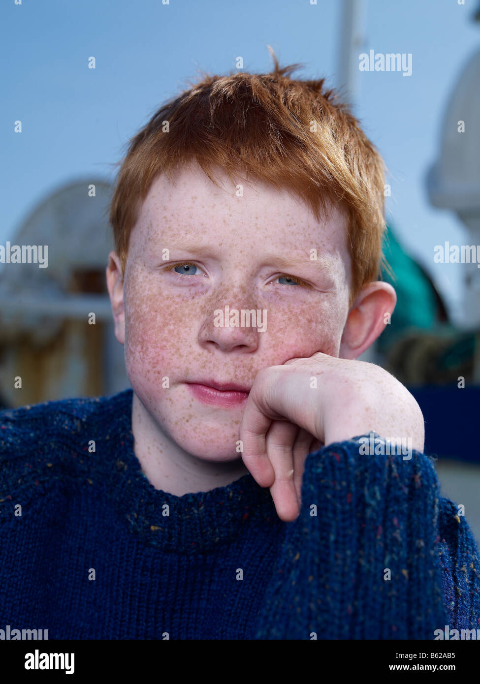 Red headed boy  Eastern Iceland - Stock Image