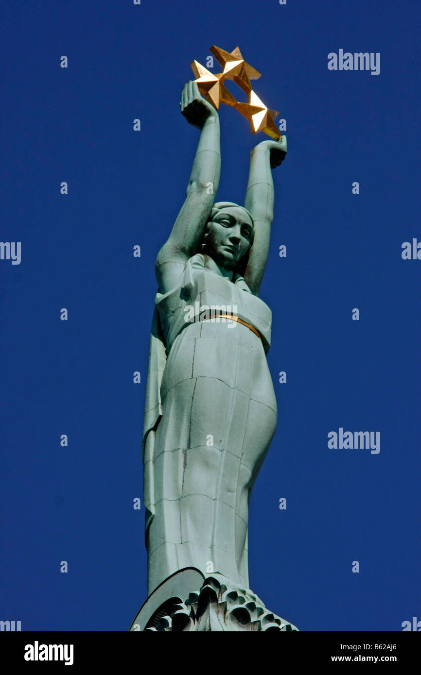Allegory of Freedom statue on top of the Freedom Memorial in Riga, Latvia, Baltic states Stock Photo