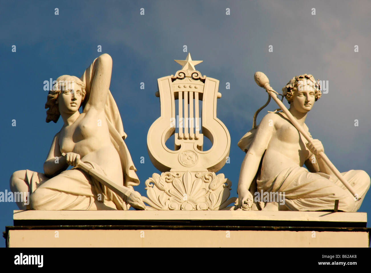 Statues on top of the National Opera House in Riga, Latvia, Baltic states - Stock Image