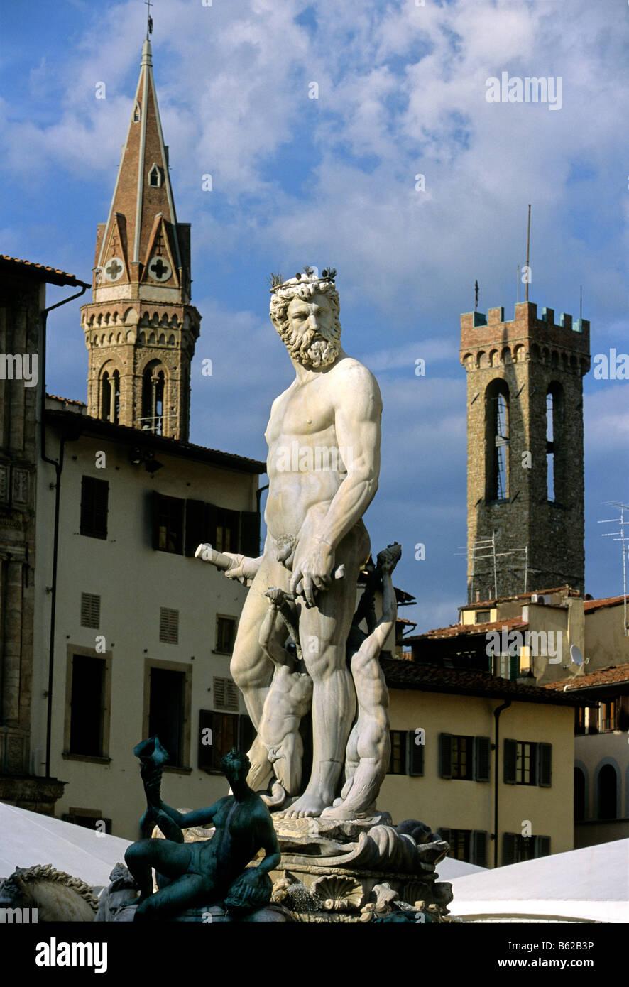 Badia Fiorentina, Statue of Neptune, Il Biancone, Bargello, Florence, Firenze, Tuscany, Italy, Europe Stock Photo