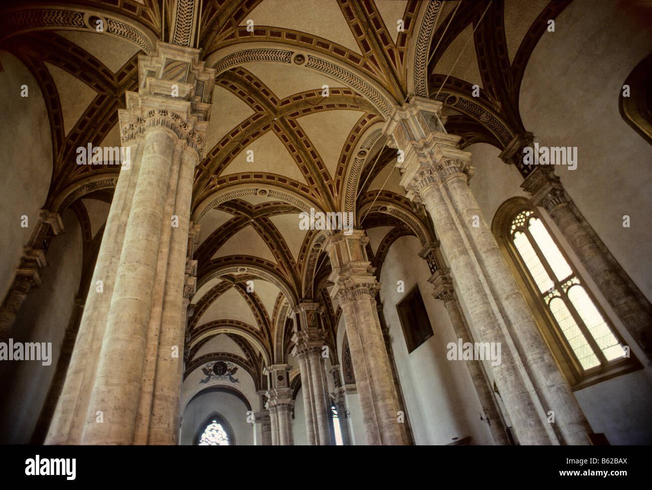 Cathedral of Santa Maria Assunta, cross-vault, hall church, Piazza Pio II, Pienza, province of Siena, Tuscany, Italy, - Stock Image