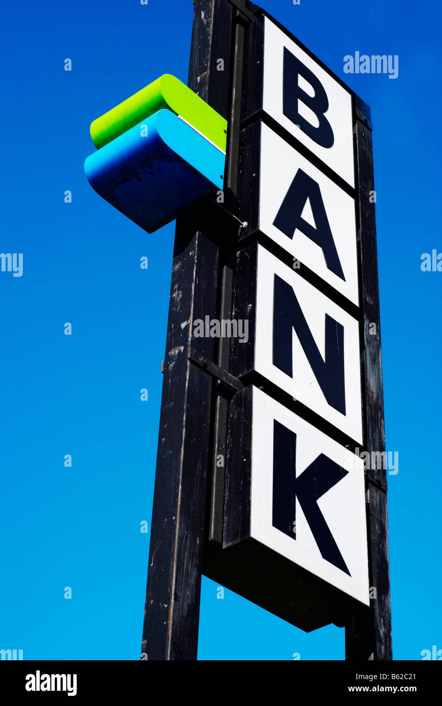 Sign indicating a bank and a cash machine, Austria, Europe - Stock Image