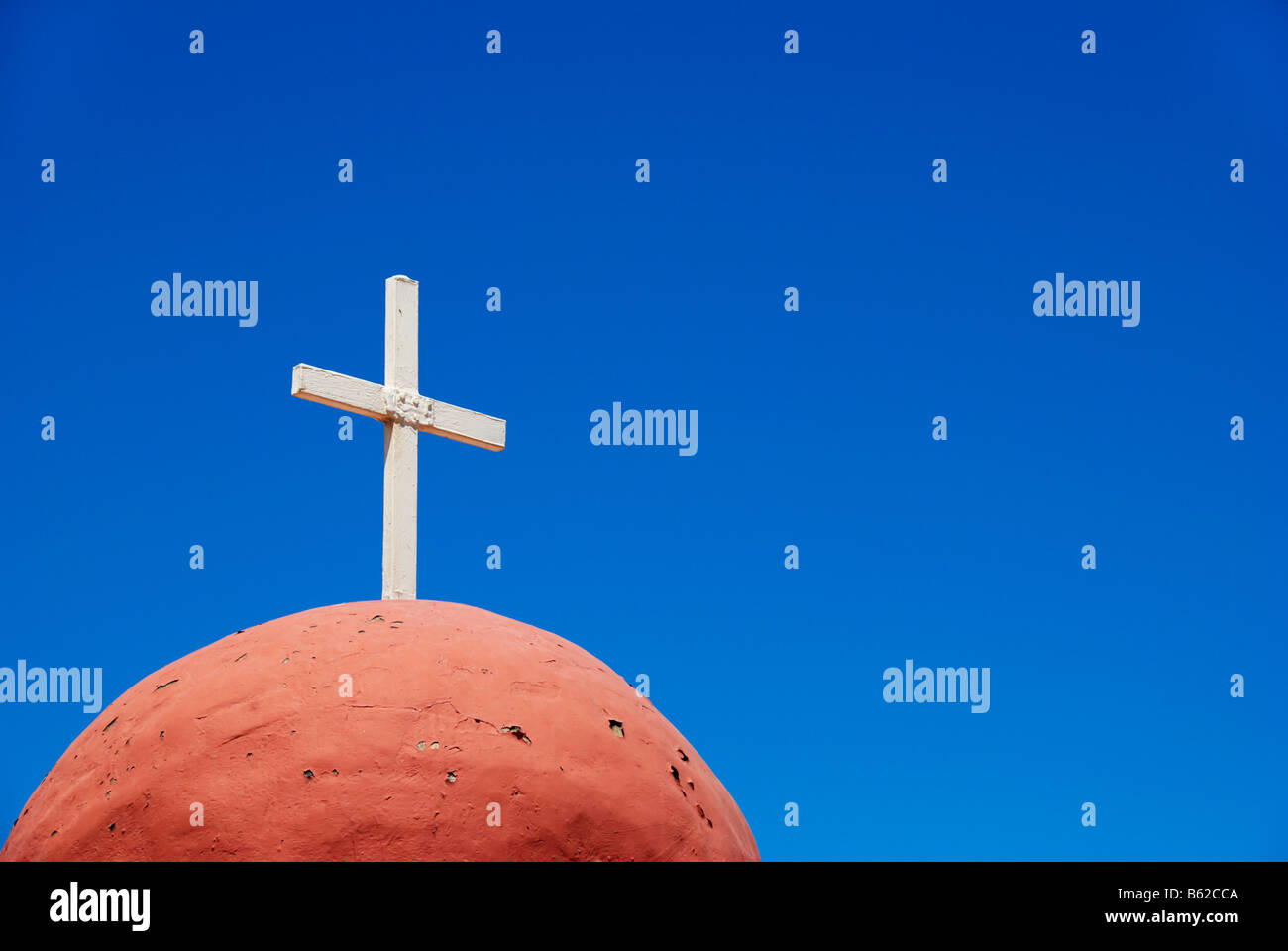 Cross on a cupola at cemetery in Rhodes, Rhodes Island, Greece, Europe - Stock Image