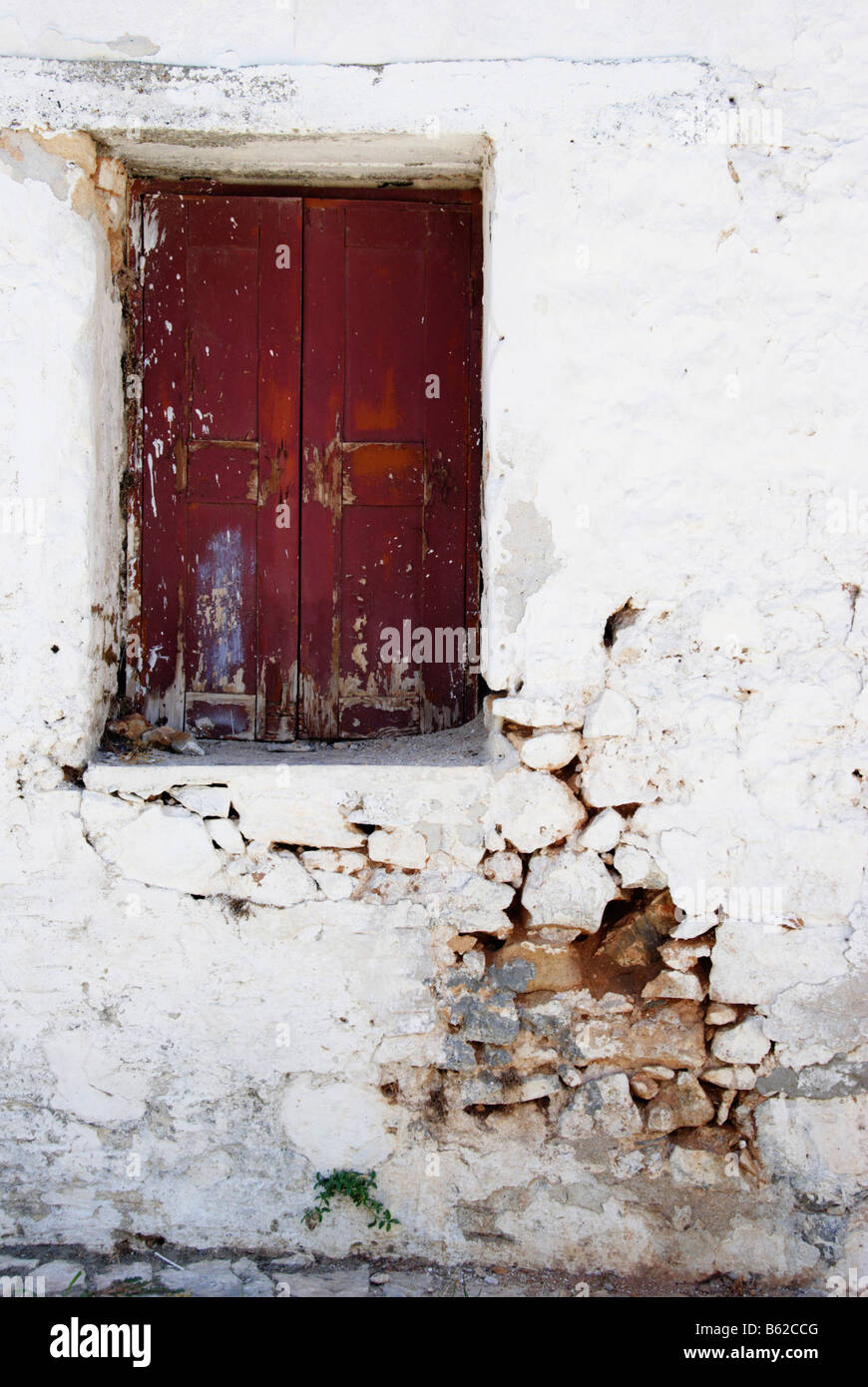 Window of an old house, Lindos, Rhodes Island, Greece, Europe - Stock Image