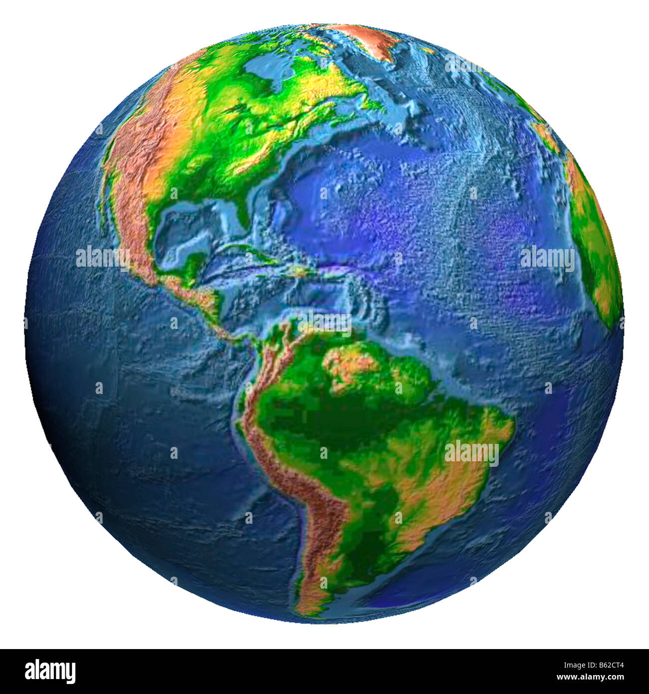 earth globe showing Western Hemisphere in relief - Stock Image