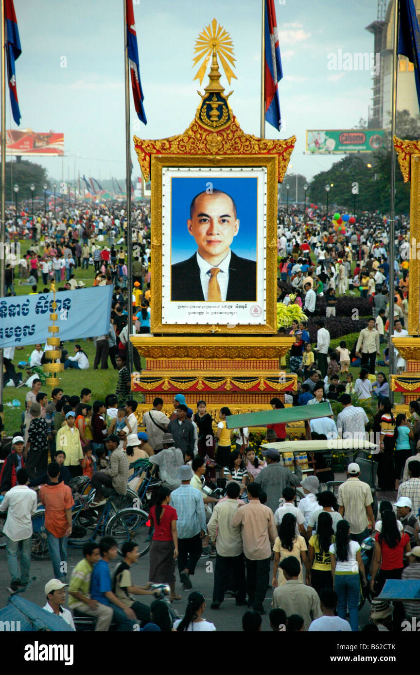 Stele of king Sihamoni, Water Festival, Phnom Penh, Cambodia, Southeast Asia Stock Photo