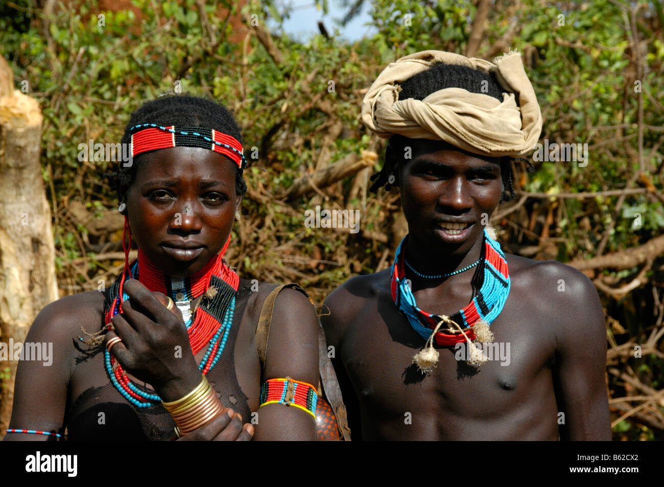 Portrait of a couple, colourful jewelry, Keyafer, Ethiopia, Africa - Stock Image