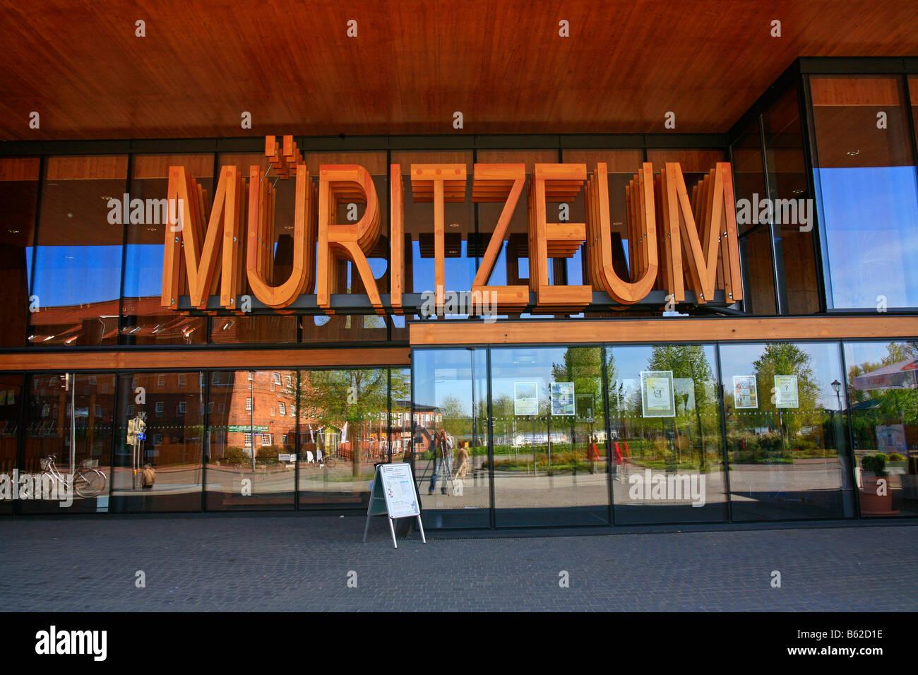 Mueritzeum in capital letters, Germany's largest aquarium for native freshwater fish, Waren on the Mueritz, - Stock Image