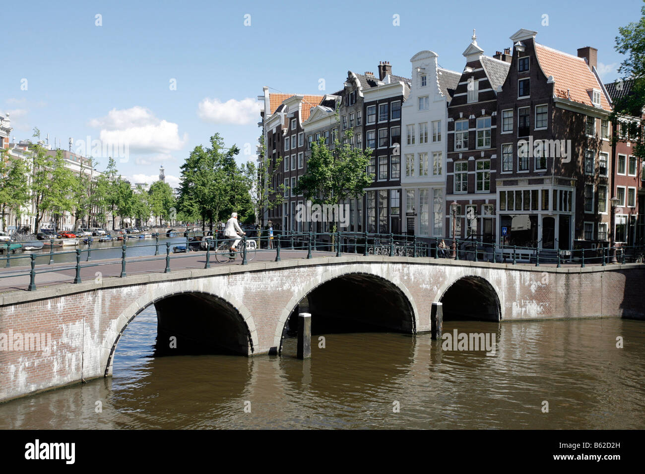 Bridge and canal houses, Leidse Ecke Prinsengracht, Amsterdam, Netherlands, Europe - Stock Image