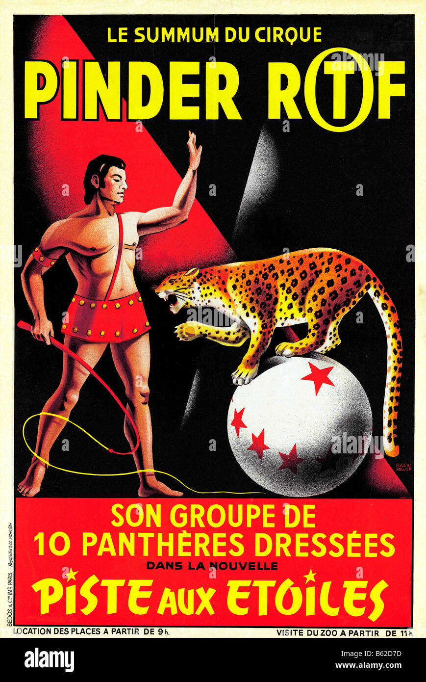 Pinder RTF Circus 1950s poster for the French travelling menagerie featuring trained panthers - Stock Image