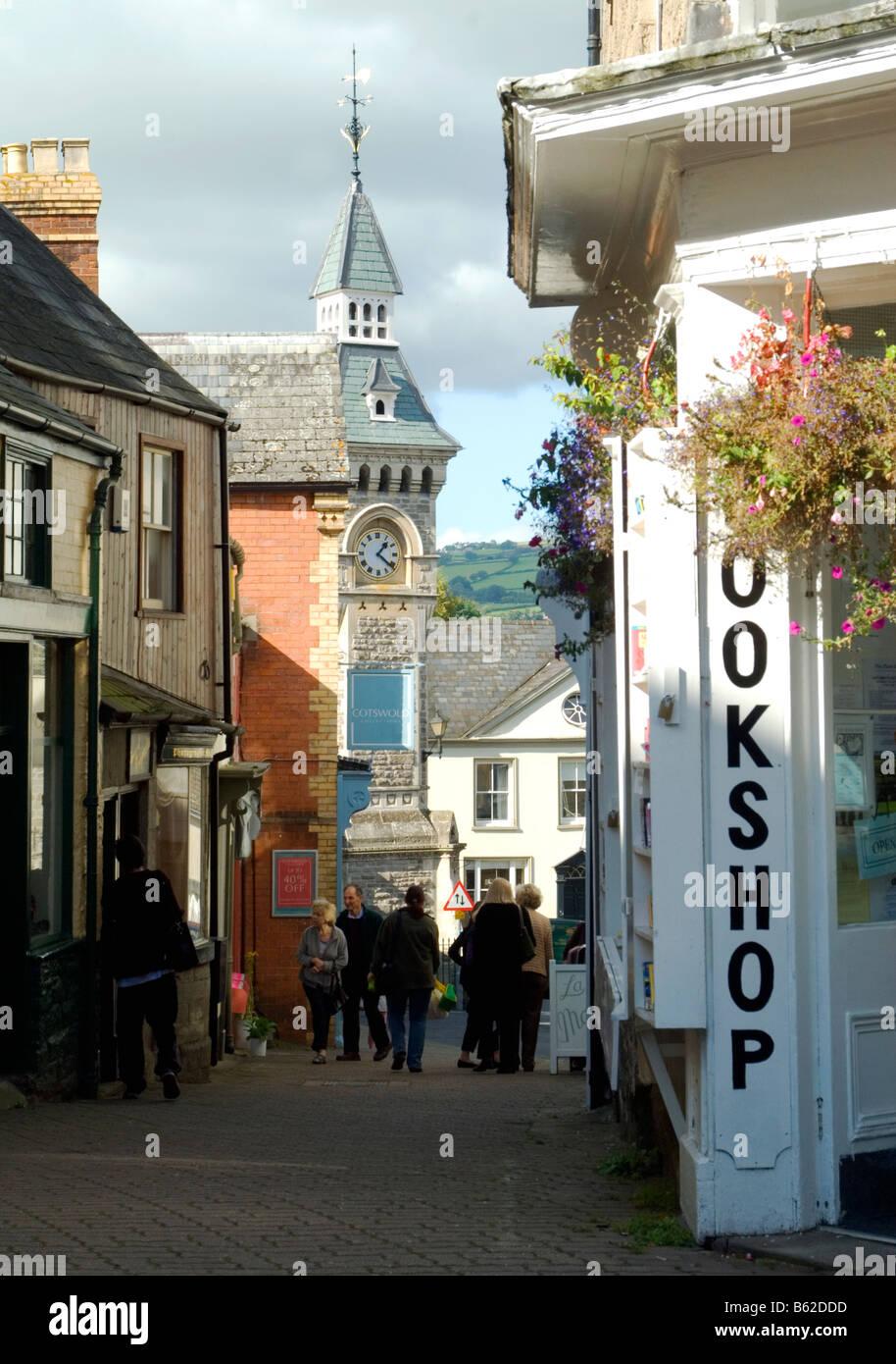 Streets of Hay-on-Wye, Wales, UK - Stock Image