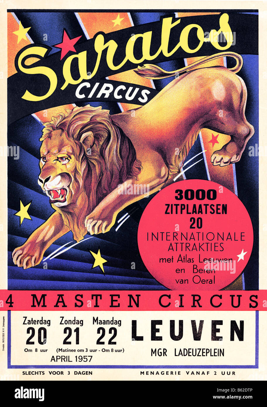 Saratos Circus 1950s poster for the visit of the Belgian circus and menagerie to the city of Leuven - Stock Image