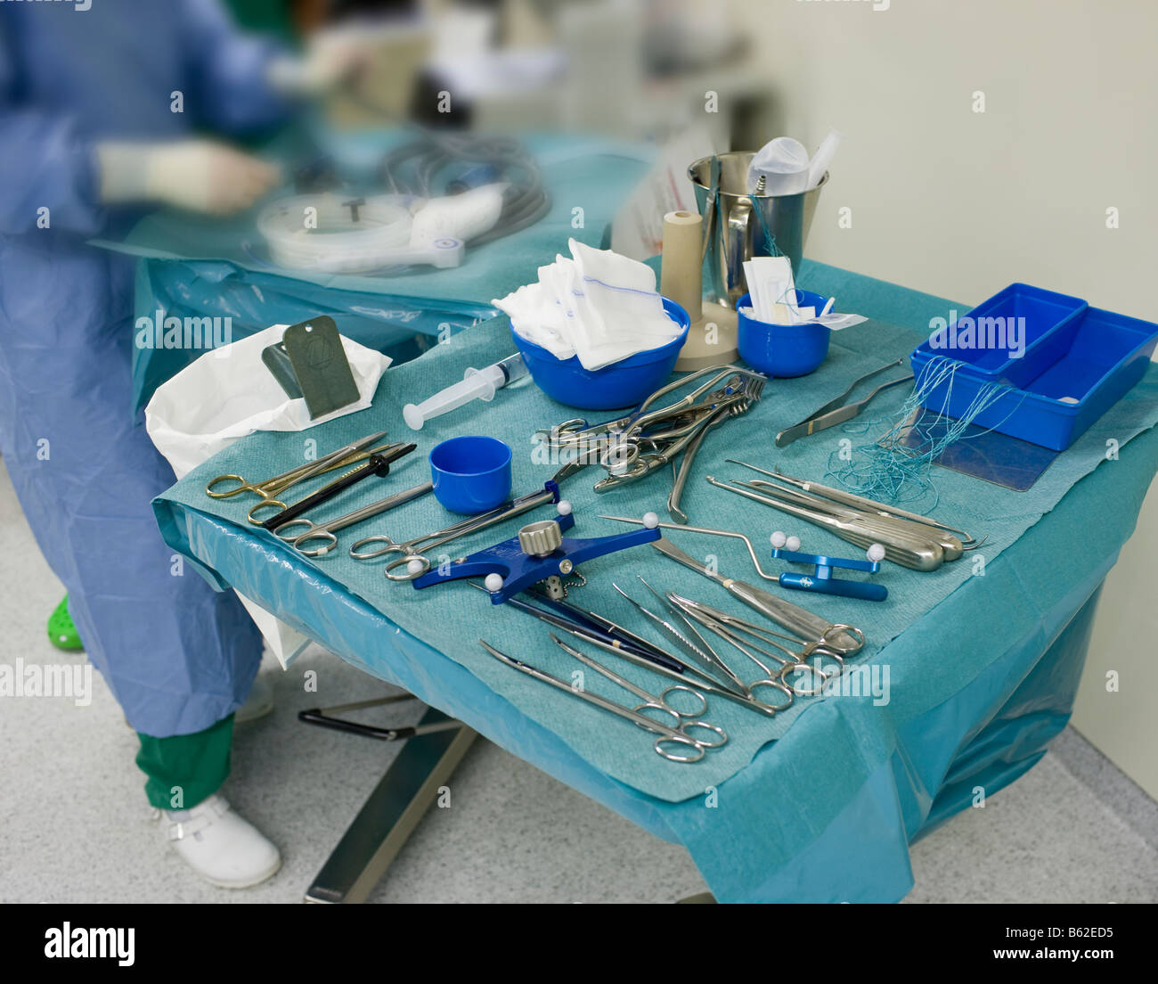 Medical instruments used during brain surgery to remove benign tumor, Reykjavik Iceland - Stock Image