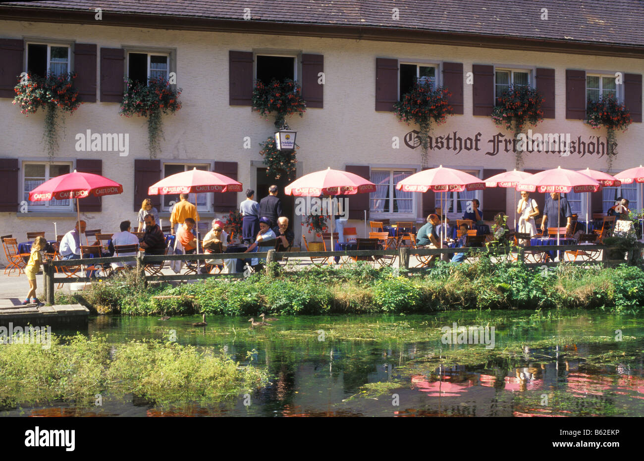 Restaurant Friedrichshoehle, Wimsener Hoehle Cave, near Zwiefalten, Swabian Alb, Baden Wurttemberg, Germany - Stock Image