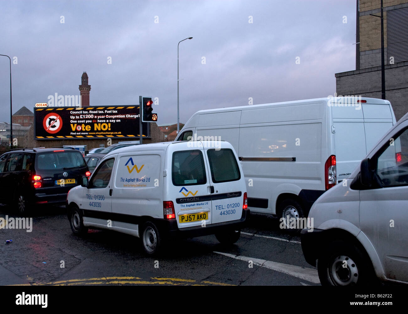 Traffic congestion,city centre, Manchester,UK. Manchester Prison (Strangeways) and 'Vote No to congestion charge' - Stock Image