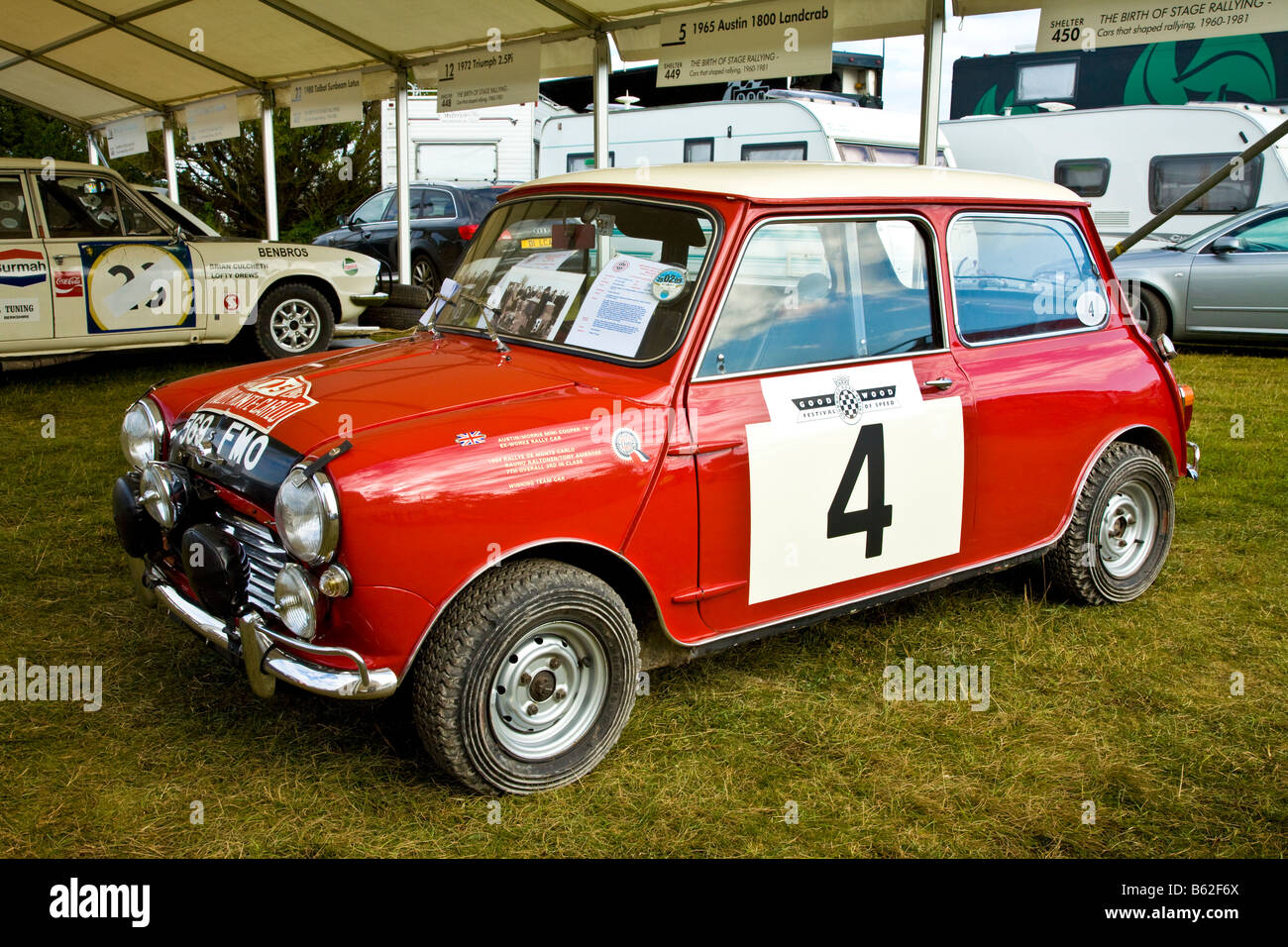 1964 Mini Cooper S rally car in the paddock at Goodwood Festival of ...