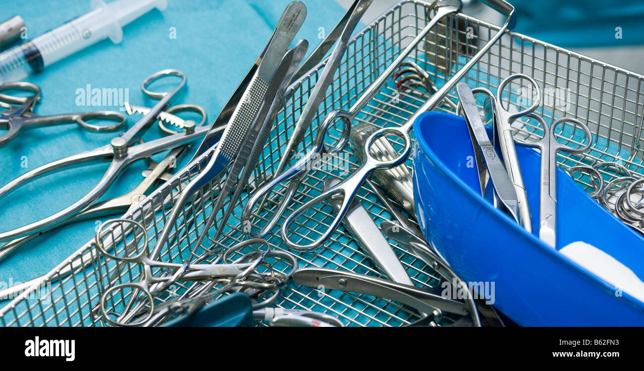 Medcial Instruments used during surgery to remove benign brain tumor, Reykjavik, Iceland Stock Photo