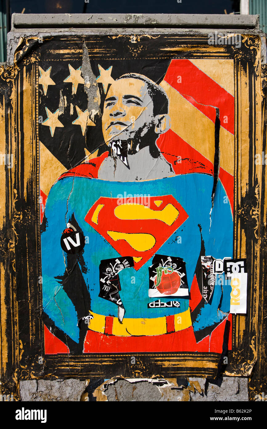 Barack Obama poster on street Los Angeles California United States of America - Stock Image