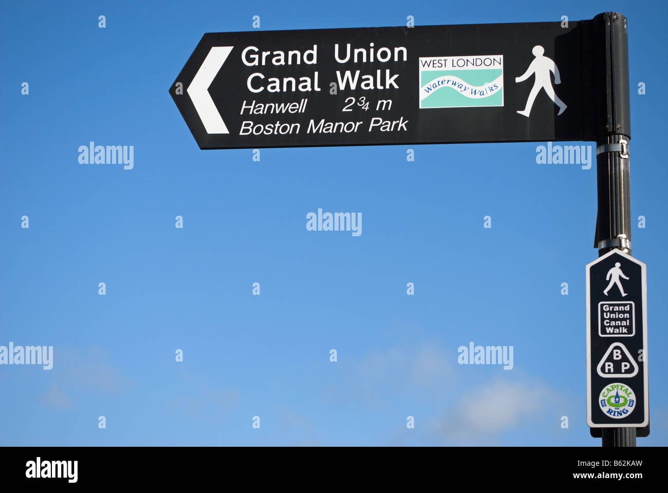 sign for grand union canal walk and capital ring, on the great west road, or A4, near brentford and isleworth, london, - Stock Image