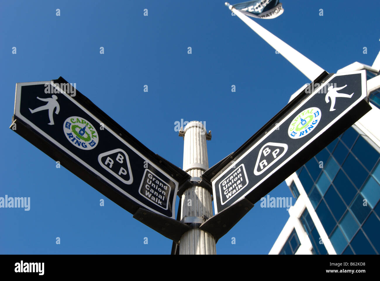 signs for grand union canal walk and capital ring, on the great west road, or A4, near brentford and isleworth, - Stock Image